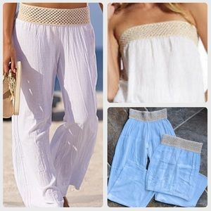 NEW VENUS White Gauze Tan Crochet Beach Outfit S